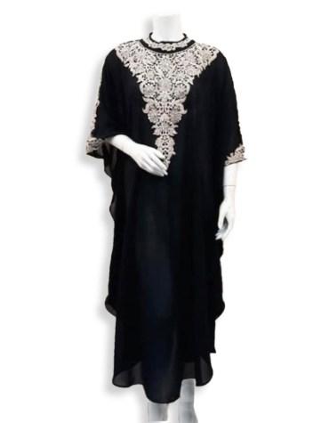 African Attire Trendy Silver Beads Embellished Chiffon Kaftan Dress For Women