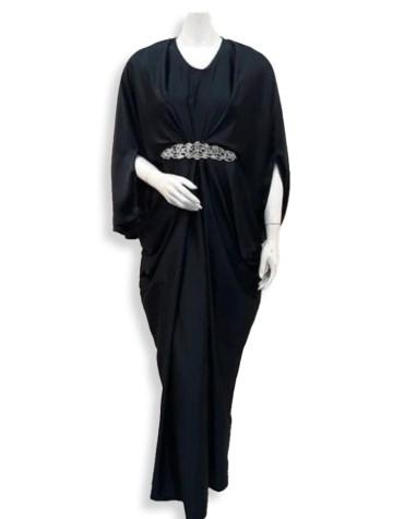 African Attire Evening Moroccan Silver Beaded Spandex Kaftan Party Wear Dress For Women