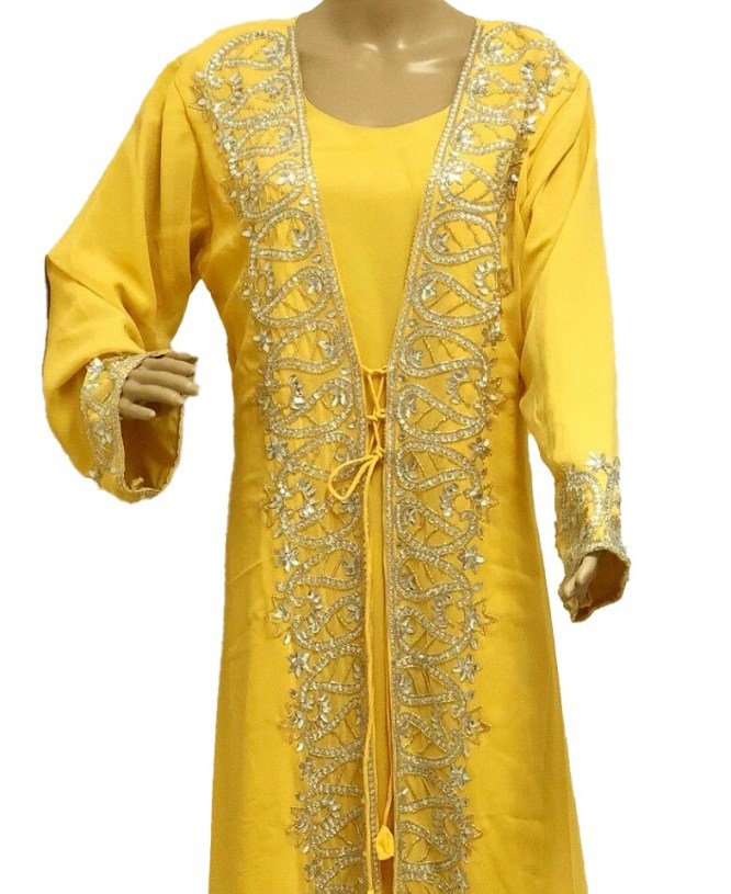 New Designer Floral long Sleeve Party Wear Kaftan beaded Party Dresses For Women
