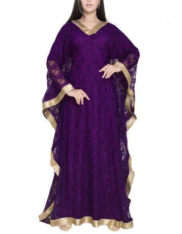 Latest Super Fancy Style Back & Front Full Heavy Work Dubai Chiffon Kaftan For Women