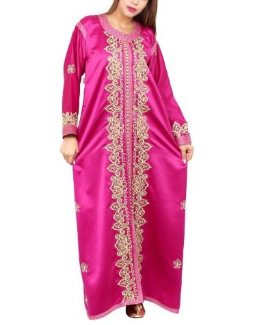 New Trendy Collection Designer Moroccon Embroidered Satin Kaftan Dresses For Women