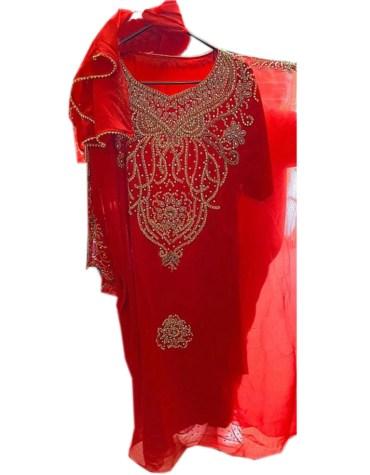 Latest Designer Floral Beautiful Golden Beaded Plus Size Dubai Party Kaftan For Women