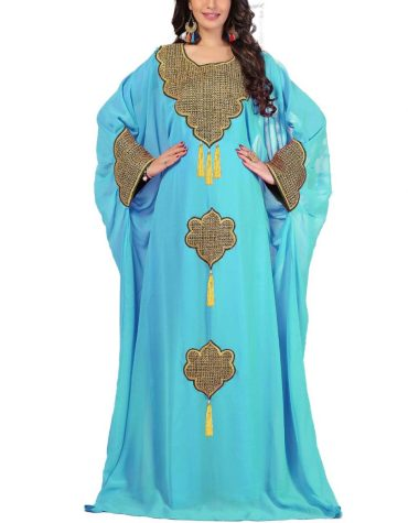 Fashion Unique Party Chiffon Kaftan Gown With Golden Embroidery Work For Women
