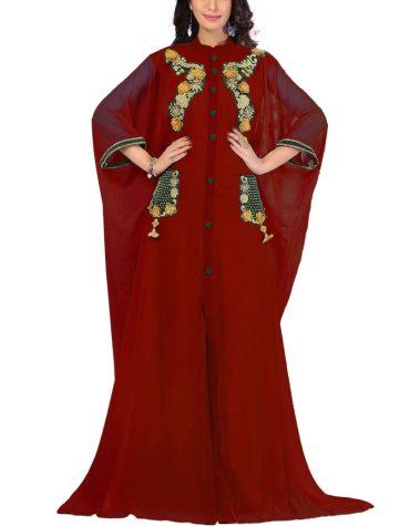Dubai Latest Caftan Dress Long Sleeve Formal Maxi Gown Evening Dress For Women