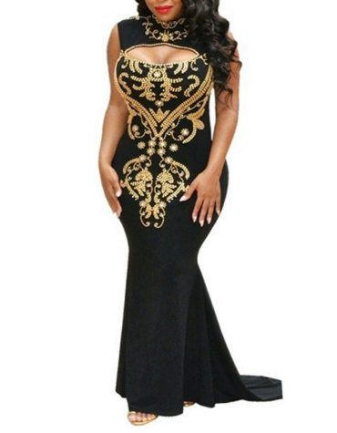 Party Collection Adorable Floral Full Sleeve Beaded Beautiful Prom Dress For Women