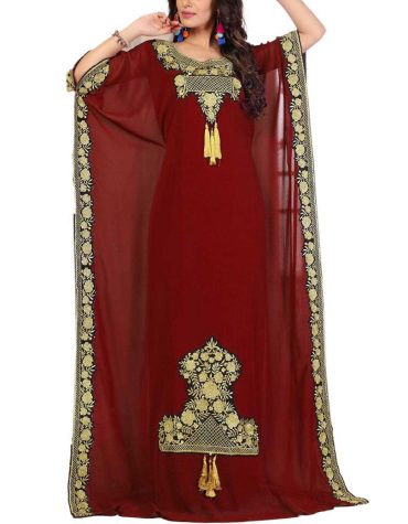 Unique Party Collection Chiffon Kaftan Gown With Golden Embroidery Work For Women