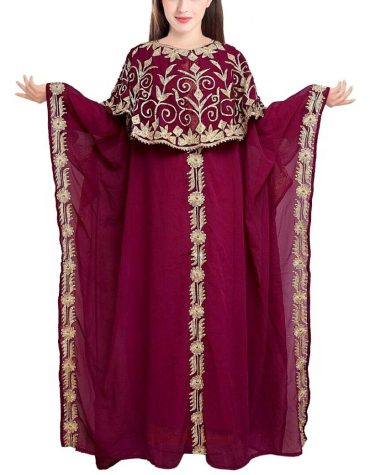 Golden Embroidered Elegant Party Gown African Dress For Women Moroccan kaftan