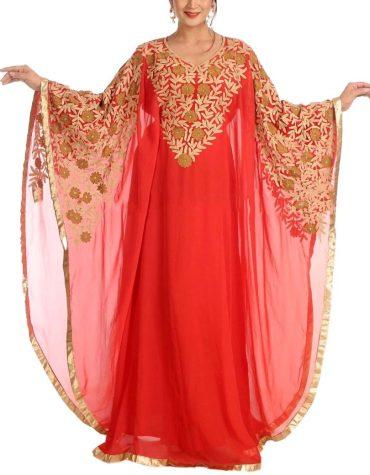 African Attire Super Golden Embroidery Work Farasha Dubai Kaftan Dresses For Women