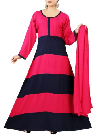 African Attire Embroidered Rayon Women Long Pink & Black Dress Stitched Elegant Gown