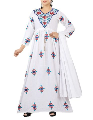Designer Flower Pattern Embroidered White Rayon Long Stitched Elegant Gown for Women