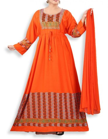 New Eid Collection Of Rayon Stitched Long Gown With Floral Print For Women