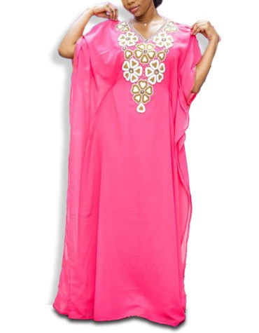 Elegant African Latest New Chiffon Kaftan With Embroiedry Hand Work Party Wear For Women