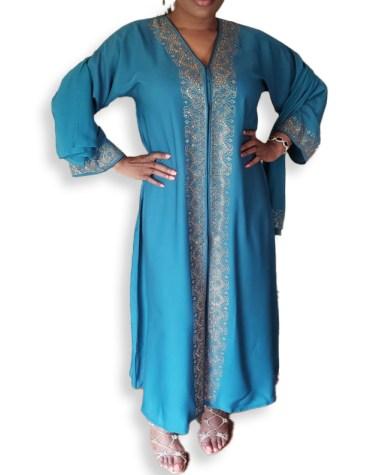 Elegant African Attire Satin Silk V-Neckline Kaftan Dress For Women
