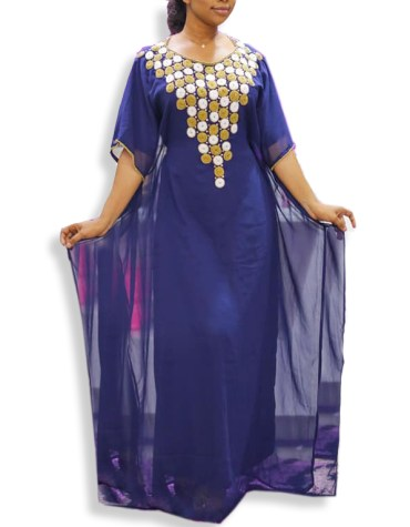 Trendy African Chiffon Kaftan With Embroiedry Hand Work Party Wear For Women