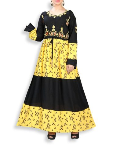 New Designer Collection Fancy Embroidered Rayon Women Long Dress Stitched Floral Gown