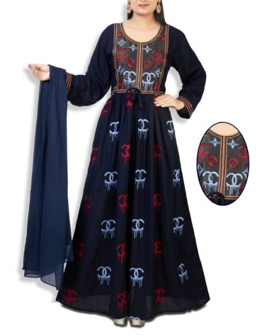 Eid Collection Of Satin & Cotton Drylace Gown Stitched Long Gown With Gucci Print
