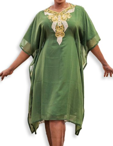Elegant Party Moroccon Beads Embellished Evening Wear Tunic Chiffon Dress