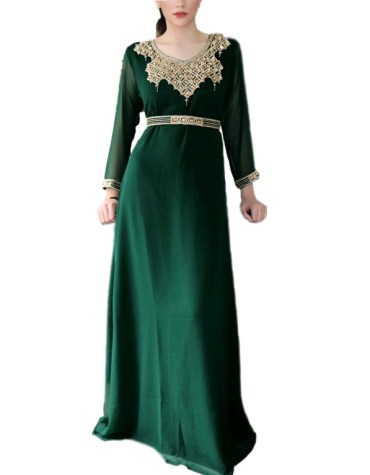 New Designer Stylish Floral Golden Beaded Party Wear Evening Gown Dresses For Women