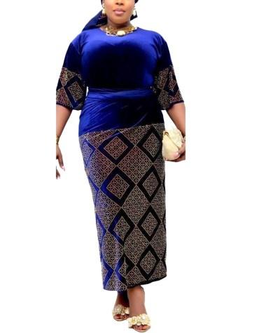 New Collection Elegant African Party Wear Velvet Kaftan Golden Beaded Work For Women