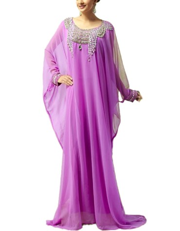 Latest Dubai Designer Collection Chiffon Floral Kaftan Women With Beads For Party Wear