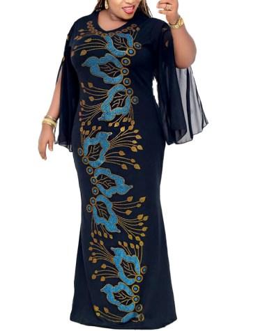 Designer Fancy Chiffon Kaftan Dress Women Dubai Rhinestone Work For Party Gown