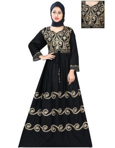 New Royal Golden Embroidered Women Long Dress Stitched Gown