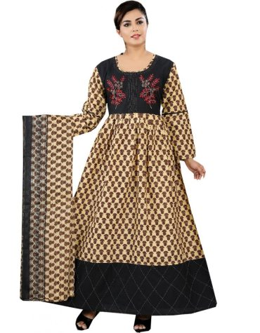 Beautiful Dual Color Checks Printed Embroidered Long Gown For Women