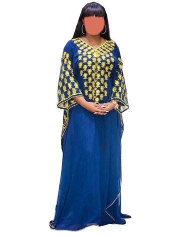 African Attire Kaftan Golden Embroidered Maxi Dress For Women