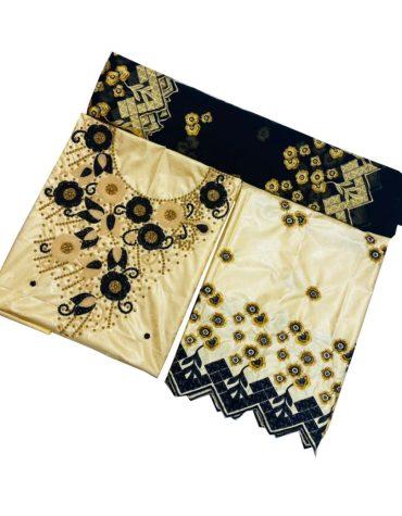 100% Super Magnum Gold Getzner Riche Bazin Black Floral Embroidered Dress Material