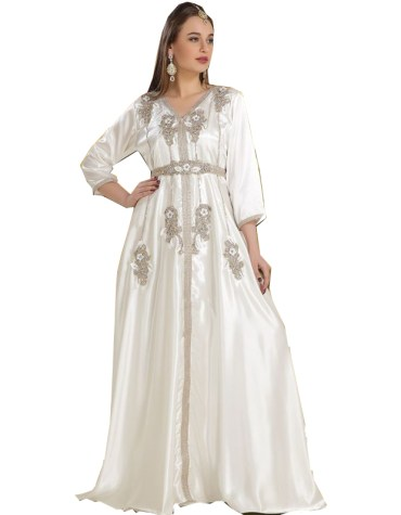 Women Attire Stylish Silver Beaded Work full Sleeves Designer kaftan
