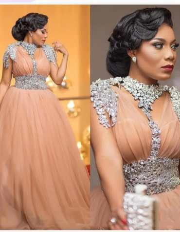 Women's Wedding Ball Long Sleeves with Silver Appliques Evening Gowns