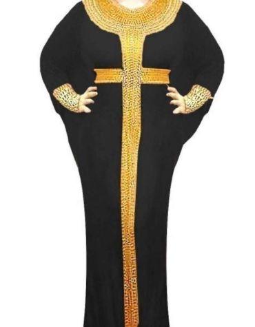 Gold Morrocan Beaded Evening Long Spandex Abaya African Kaftan Dresses for Women
