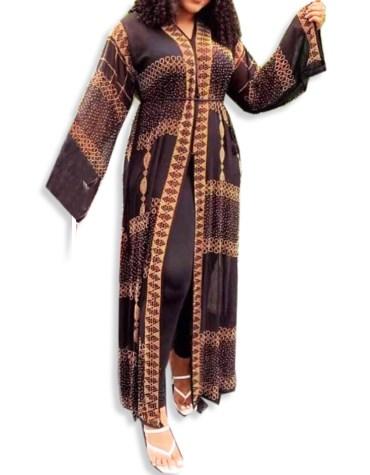 Elegant Work On Long Sleeves Golden Embroidered Shrug For Women