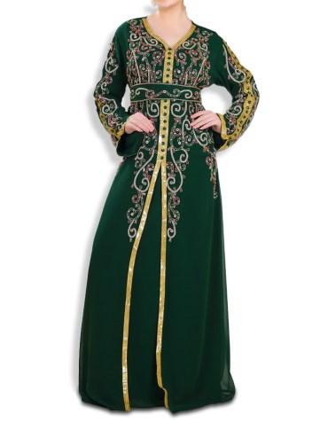 Elegant Dubai Styled Front Slit Heavy Beaded Work Designer kaftan Party Wear for Women