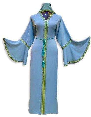 African Fancy Bell Sleeve With Silver Rhinestones Moroccan For Women Dubai Abaya