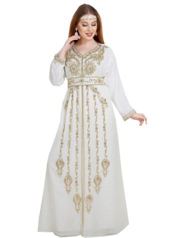 New Stylish Golden Beaded Work full Sleeves Designer kaftan for Women