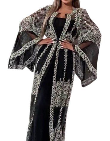 Elegant Silver Sequins Beautiful Work Bell Sleeves Long Shrug For Women