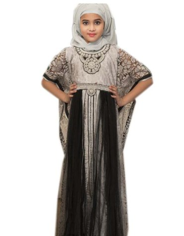Eid-Collection New Muslim Kaftan With Golden Beaded Work For Kids