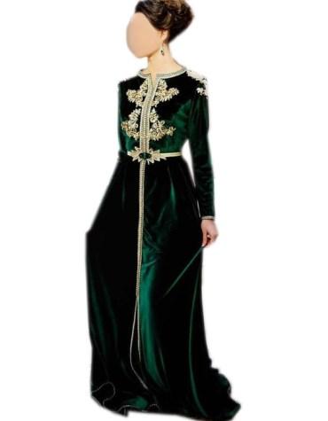 New Stylish Body Fit Golden Embellished Velvet Dubai Kaftan For Women