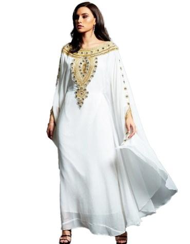 Latest Farasa Kaftan Hand Work Golden Beaded Dress For Women