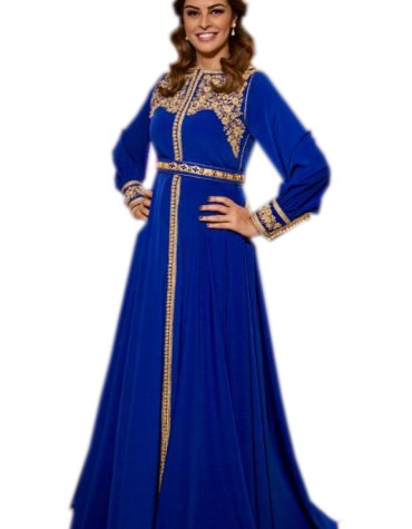 African Attire Party Golden Floral Embroibered Kaftan Dresses for Women