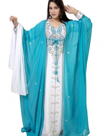 Elegant Moroccon Attire Silver Beaded Kaftan Dresses Party Wear for Women