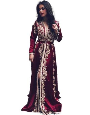 Heavy Embroidered Designer Front Slit Kaftan Dress For Women