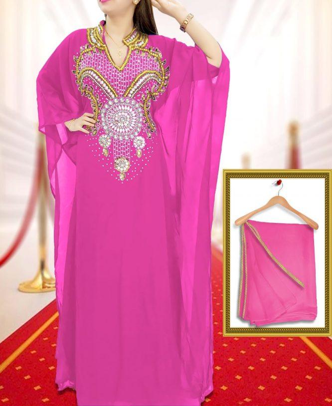 Moroccan Dress Plus Size Robe Dubai Kaftan Kaftan for Women-Baby Pink