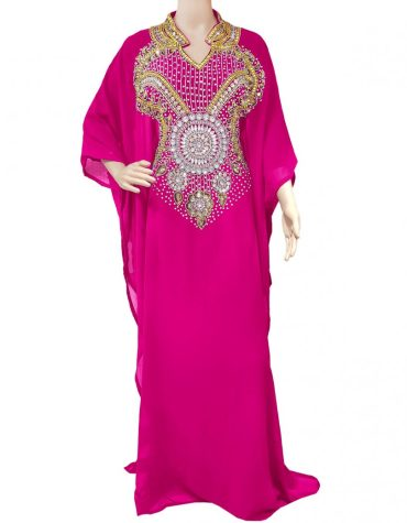 Silver Embellished Plus Size Moroccan Beaded Fuchsia Dress for Women
