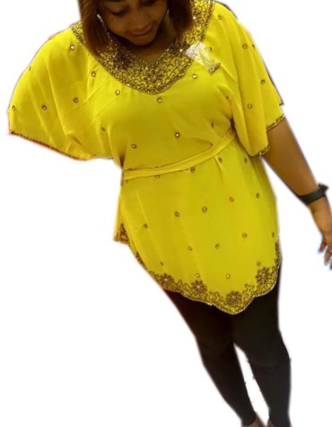 Amazing Gold Beaded Stylish Poncho Dresses with Belt for Women