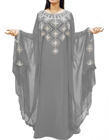 New Designer Sleeve Silver Embroidered African Kaftan Dress For Women