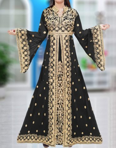 Designer Embroidered African Chiffon Kaftan With Golden Lace Work For Women