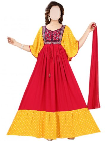 Designer Swiss Voile Cotton Mix Embroidered Long Gown For Women