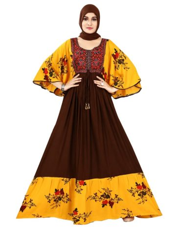 Trendy Rayon Gown Embroidered & Printed With Designer sleeves For Women